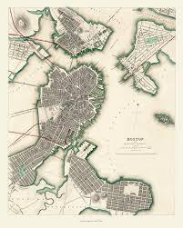 Map Of Boston Ma Aerial Map Of Boston Charlestown And Roxbury Massachusetts In