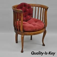 Antique Accent Chair Antique Mahogany Wood Barrel Back Lounge Accent