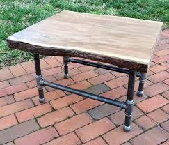 Pipe Coffee Table by Live Edge Wood Slab U0026 Pipe Coffee Table