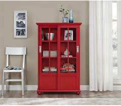 Sauder Bookcase With Glass Doors by Stunning Red Bookcase With Doors 33 With Additional Sauder