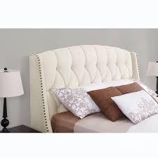 Tufted Wingback Headboard Bedroom Modern Ivory Linen Upholstered Tufted Wingback Headboard
