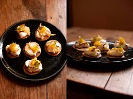 m canape blinis with roasted fennel crème fraîche and orange a fanatical