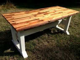 butcher block table top and trestle frame zoom