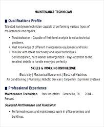 Sample Resume Maintenance Technician by Sample Maintenance Technician Resume 9 Examples In Word Pdf