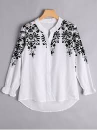 embroidered blouses button up floral embroidered blouse white blouses l zaful