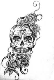sugar skull with roses drawing clipartxtras
