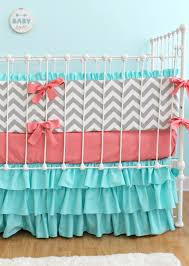 Custom Girls Bedding by Coral Turquoise Chevron Baby Bedding Custom Baby Bedding