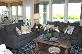 winsome family room model home decor design with black fabric sofa