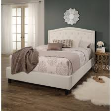 Tufted Headboard Bed Bedroom Simple Bedroom With Ivory Linen Button Tufted Headboard