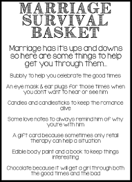 wedding gift kits marriage survival basket survival note and bridal showers