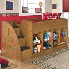 Wood Loft Bed Designs by Bedroom Alluring Kids Room With Wooden Loft Bed And Bookcase