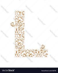 floral letter l ornament font royalty free vector image