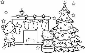 Hello Kitty Christmas Coloring Pages Fishwolfeboro Hello Tree Coloring Page