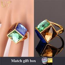new stone rings images U7 big green crystal ring for women gold color party jewelry jpg