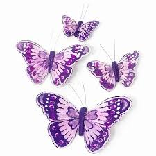 10cm purple butterflies wired feather butterfly wedding cake toppers
