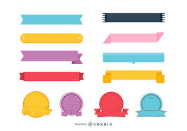 colorful ribbon colorful ribbon badge set vector