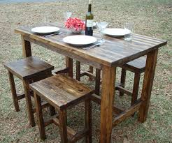 High Bistro Table Set Outdoor Outdoor Barght Dining Table And Chairs Stools Set Wooden Tables