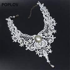 white lace choker necklace images Poplov vintage black amp white lace choker necklace charm ribbon jpg