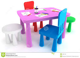 childrens plastic table and chairs colorful plastic kid chairs and table stock photo image of