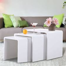 High Gloss Side Table High Gloss 3 Side Nested Of Tables White Set Coffee Table Living