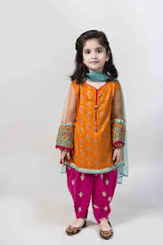 orange kameez with tulip shalwar and sky blue dupatta latest kids