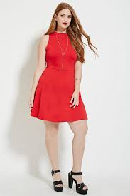 forever 21 plus size high neck dress in red lyst