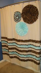 Teal Ruffle Shower Curtain by Aqua And Brown Shower Curtain Springfield Luxury Chocolate Brown
