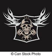 skull with pistons against motorcycle gear emblem vintage