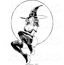 vector of a pin up witch in front of full moon black and