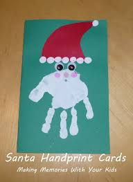 santa handprint cards making memories with your kids
