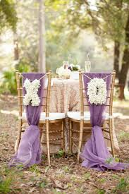 50 creative wedding chair decor with fabric and ribbons purple