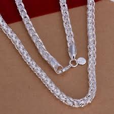 silver chain necklace wholesale images Trendy 6 mm wide silver chain necklace jpg