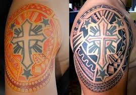 before and after tribal religious sun on shoulder