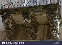 details of a baroque balcony ornaments and sculptures in a