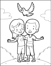 friends and a dove of peace coloring pages hellokids com
