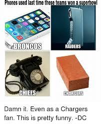 Raiders Chargers Meme - phones used last time these teams won a superbowl broncos raiders
