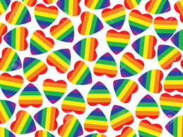 Pride Flag Colors Background Made From Hearts With Pride Flag Inside On White