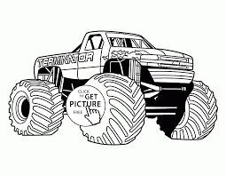 terminator monster truck from show coloring page for kids