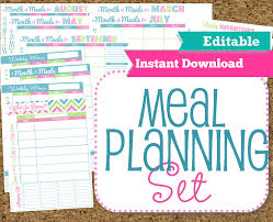 editable and instant download menu planner printables meal