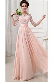 evening dresses womens lace chiffon pleated half sleeve maxi evening dress pink