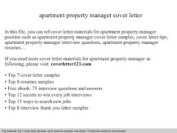 apartment property manager cover letter