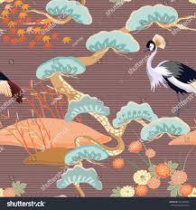 seamless birds royal crane heron ornament stock vector 421086694