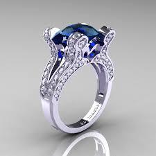 engagement rings london vintage 14k white gold 3 0 ct london blue sapphire diamond