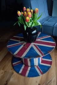 old cable spool turned into a union jack side table love this