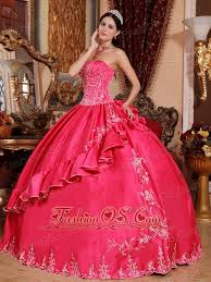 coral pink quinceanera dresses hot pink quinceanera dress strapless satin and taffeta embroidery