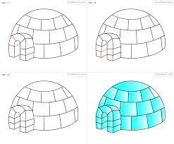 how to draw igloo for kids step by step drawing tutorial draw
