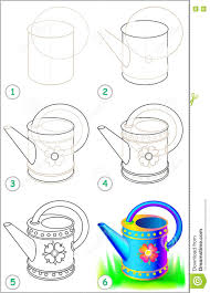page shows how to learn step by step to draw a watering can stock