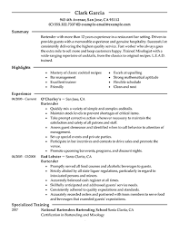 Resume Objective Examples For Hospitality by Bartender Resume Objective Examples 7550