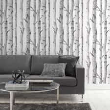 papier peint avec motif de bouleaux rouleau double birch tree glitter wallpaper