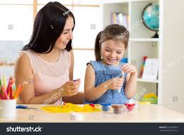 child mom play color dough stock photo 557685064 shutterstock